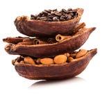 Os benefícios de beber o cacau e a aromaterapia quentes do cacau, canela, café para o rafrescamento da manhã, arranjaram tão perf Imagem de Stock Royalty Free