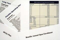 Os benefícios de empregado abrem formulários do registro Foto de Stock