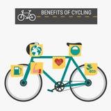 Os benefícios do ciclismo, infographics Foto de Stock Royalty Free