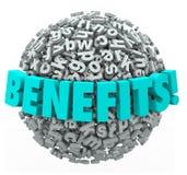 Os benefícios recompensam a esfera da bola das letras da palavra 3d da compensação Foto de Stock Royalty Free