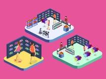 Os bens 3D interiores lisos isométricos para os esportes compram Fotografia de Stock Royalty Free