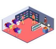 Os bens 3D interiores lisos isométricos para os esportes compram Imagem de Stock Royalty Free