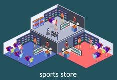 Os bens 3D interiores lisos isométricos para os esportes compram Imagem de Stock