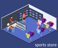 Os bens 3D lisos isométricos para os esportes compram Imagem de Stock