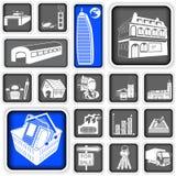 Os bens imobiliários esquadraram ícones Imagem de Stock