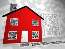 Os bens imobiliários QR temático codificam o projeto de conceito imagens de stock