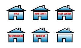 os bens imobiliários venderam, bens imobiliários, a melhor escola, o melhor lugar, para sinais do aluguel Imagem de Stock
