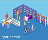 Os bens interiores do vetor 3D liso isométrico para os esportes compram Fotos de Stock Royalty Free
