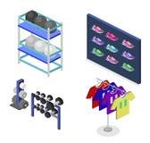 Os bens lisos isométricos do conceito 3D para os esportes compram Imagens de Stock Royalty Free