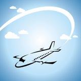 Os bilhetes do voo do avião arejam o elemento da silhueta do curso da mosca Fotografia de Stock