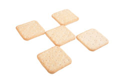 Os biscoitos alinharam quadriculado isolados no fundo branco Fotografia de Stock Royalty Free