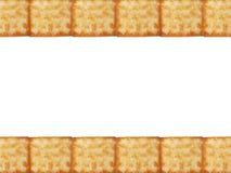 Os biscoitos saborosos texture o teste padrão da fileira dos detalhes do close up na parte superior e na parte inferior isoladas  Imagem de Stock