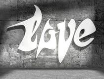 Os blocos de cimento esvaziam a sala com texto do amor Imagens de Stock