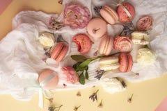 Os bolinhos de amêndoa cor-de-rosa e brancos endurecem com as flores em botão grandes e pequenas AR Fotografia de Stock