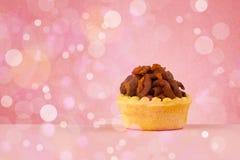 Os bolos caseiros saborosos deliciosos com bokeh iluminam o fundo Imagens de Stock