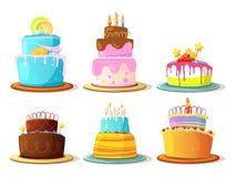 Os bolos do creme dos desenhos animados ajustaram o isolado no fundo branco Graphhics do vetor ilustração royalty free