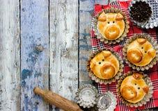Os bolos do pão do porco, ideia engraçada do cozimento deram forma às caras leitães bonitos foto de stock royalty free