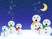 Os bonecos de neve cantam Fotos de Stock Royalty Free