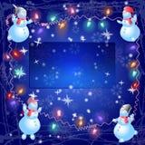 Os bonecos de neve do Natal penduram para fora o bulbo Imagens de Stock