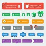 Os botões/ícones da transferência ajustaram-se no estilo liso do projeto Foto de Stock Royalty Free