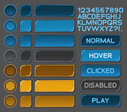 Os botões da relação ajustaram-se para jogos ou apps do espaço Fotografia de Stock Royalty Free