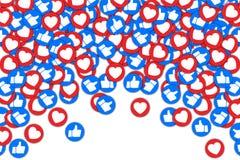Os botões sociais manuseiam acima do gosto e do fundo vermelho do coração O meio social gosta do fundo de queda para a propaganda imagens de stock
