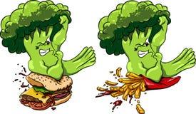 Os brócolis contra o hamburguer e as batatas fritas, alimento saudável jejuam, competição Fotos de Stock Royalty Free