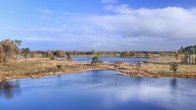 Os brejos tranquilos com nuvens refletiram na água calma, Turnhout, Bélgica fotos de stock