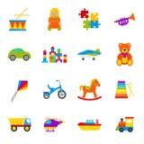 Os brinquedos do bebê ajustaram-se Ilustração do vetor no projeto liso ilustração do vetor