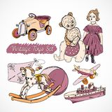 Os brinquedos esboçam cartaz ajustado ilustração stock