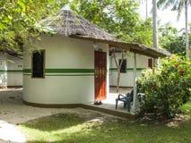 Os bungalows tropicais com cobrem com sapê telhados Imagens de Stock