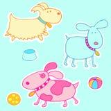 Os cães bonitos Vector a ilustração Imagens de Stock