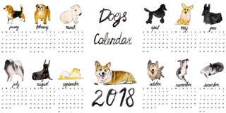 Os cães Calendar 2018 Fotografia de Stock Royalty Free