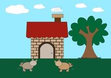 Os cães esperam a parte dianteira da casa pelo alimento Imagem de Stock Royalty Free