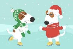 Os cães na roupa estão patinando sob a neve ilustração do vetor