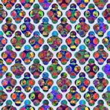 Os círculos brilhantes que formam o grunge abstrato do rombo colorido espirram o projeto sem emenda do teste padrão da aquarela d fotos de stock