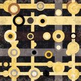 Os círculos coloridos e as linhas abstraem o efeito geométrico do grunge da ilustração do vetor do fundo Imagem de Stock