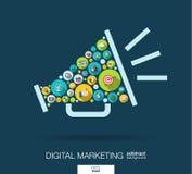 Os círculos de cor, ícones lisos em um orador dão forma para o mercado digital, meio social, rede, conceito do computador ilustração royalty free