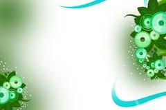 os círculos e as folhas verdes endireitam o lado superior, fundo do abstrack Imagens de Stock Royalty Free