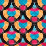 Os círculos e as linhas abstraem o efeito sem emenda do grunge da ilustração do vetor do teste padrão do fundo geométrico Foto de Stock Royalty Free