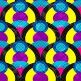 Os círculos e as linhas abstraem o efeito sem emenda geométrico do grunge da ilustração do vetor do teste padrão Fotos de Stock