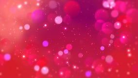Os círculos vermelhos aparecem no fundo de brilho Animação do laço do sumário do feriado do dia de Valentim vídeos de arquivo