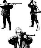 Os caçadores esboçam o grupo - ilustração Fotos de Stock Royalty Free