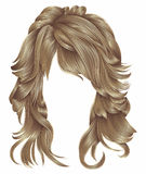 Os cabelos longos da mulher na moda bronzeiam cores bege louras beleza f Imagem de Stock