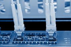 Os cabos óticos da fibra conectaram a um interruptor imagens de stock