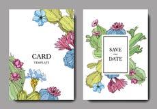 Os cactos do vetor florescem Arte gravada da tinta Fundo do casamento Obrigado, rsvp, bandeira gráfica da ilustração do cartão do ilustração stock
