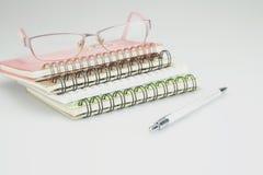Os cadernos têm espetáculos com uma pena Imagem de Stock