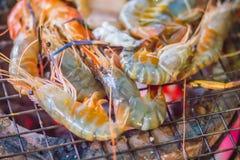 Os camarões e os calamares grelhados no fogão do carvão vegetal na noite party Sea Fotos de Stock Royalty Free