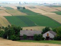 Os campos coloridos dos retalhos do remendo nos montes Imagem de Stock Royalty Free