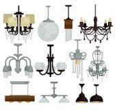 Os candelabros isolaram lâmpadas estilizados leves dos objetos interiores ilustração do vetor